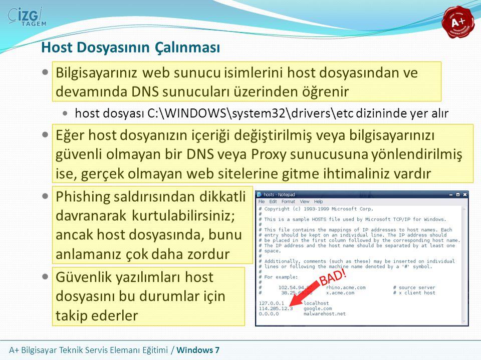 A+ Bilgisayar Teknik Servis Elemanı Eğitimi / Windows 7 Host Dosyasının Çalınması Bilgisayarınız web sunucu isimlerini host dosyasından ve devamında D