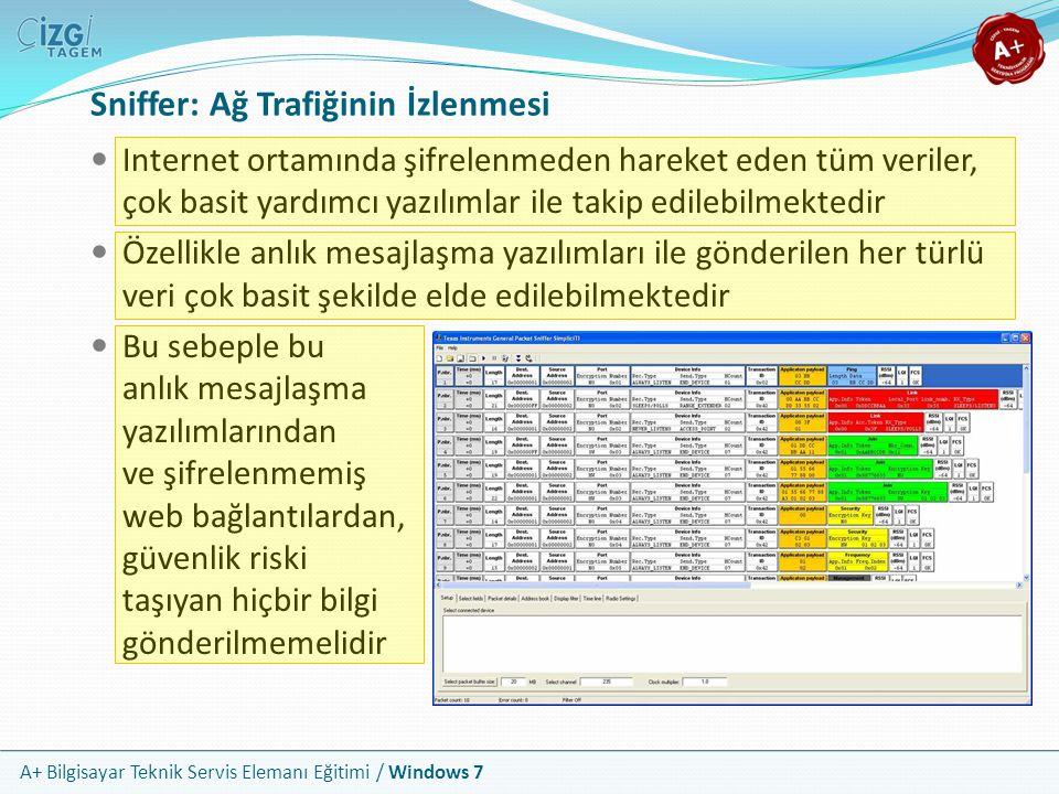 A+ Bilgisayar Teknik Servis Elemanı Eğitimi / Windows 7 Sniffer: Ağ Trafiğinin İzlenmesi Internet ortamında şifrelenmeden hareket eden tüm veriler, ço
