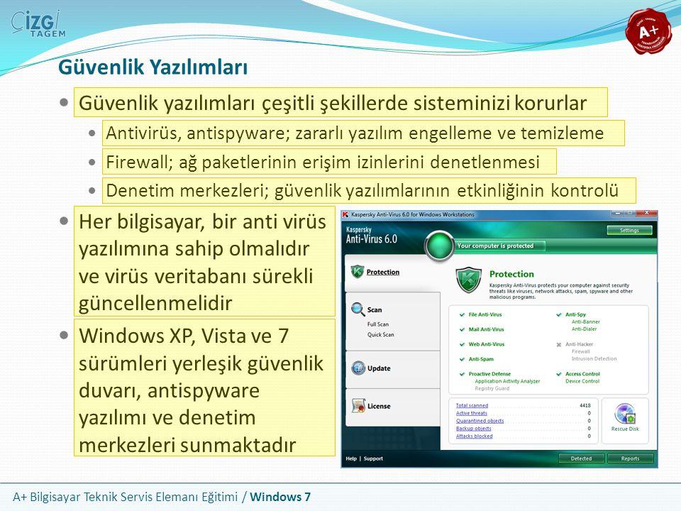 A+ Bilgisayar Teknik Servis Elemanı Eğitimi / Windows 7 Güvenlik Yazılımları Güvenlik yazılımları çeşitli şekillerde sisteminizi korurlar Antivirüs, a