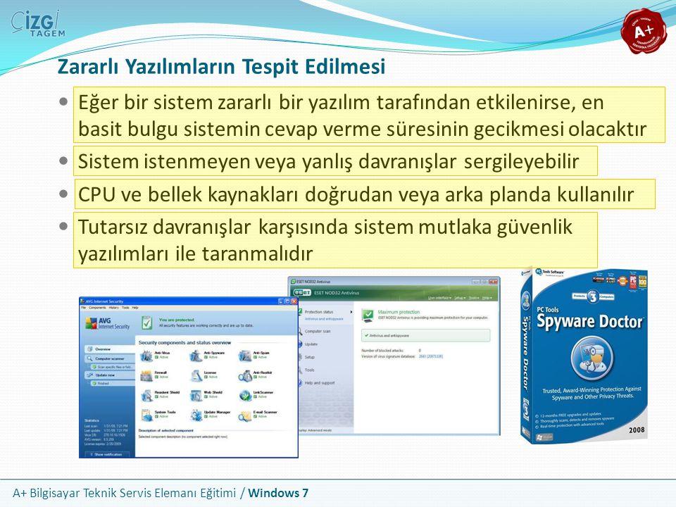 A+ Bilgisayar Teknik Servis Elemanı Eğitimi / Windows 7 Zararlı Yazılımların Tespit Edilmesi Eğer bir sistem zararlı bir yazılım tarafından etkilenirs
