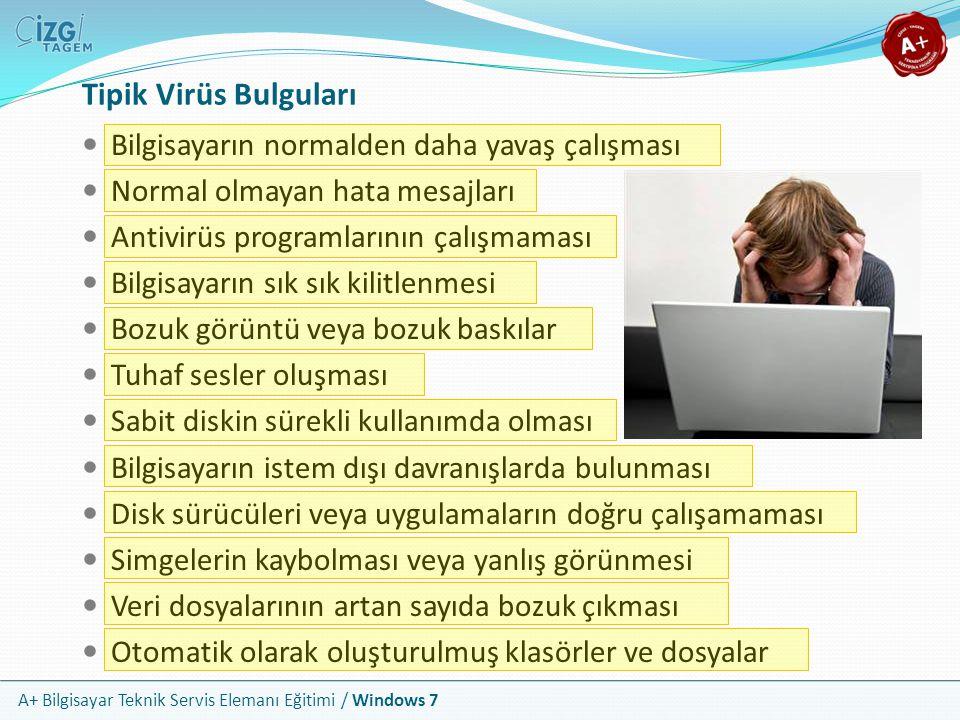 A+ Bilgisayar Teknik Servis Elemanı Eğitimi / Windows 7 Tipik Virüs Bulguları Bilgisayarın normalden daha yavaş çalışması Normal olmayan hata mesajlar