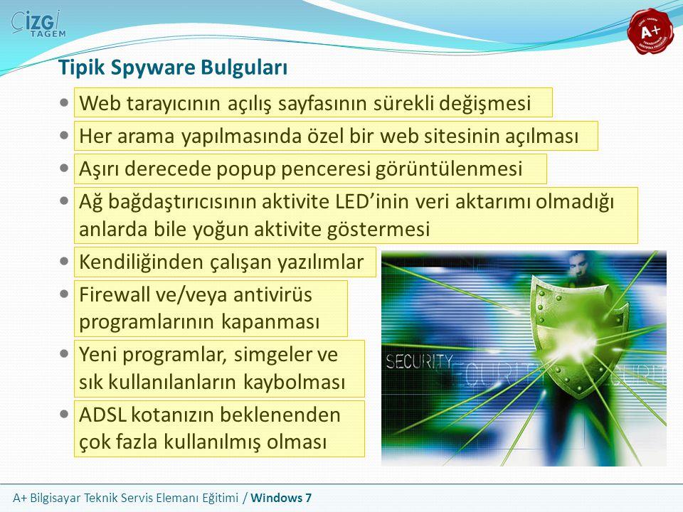 A+ Bilgisayar Teknik Servis Elemanı Eğitimi / Windows 7 Tipik Spyware Bulguları Web tarayıcının açılış sayfasının sürekli değişmesi Her arama yapılmas