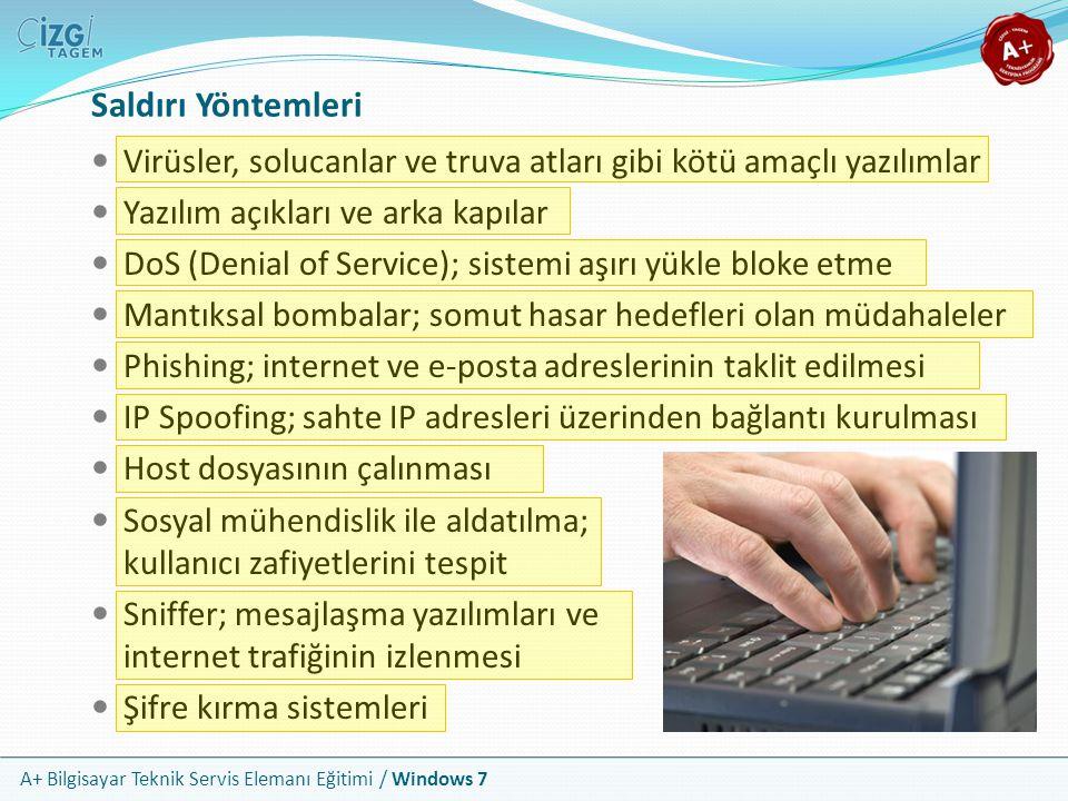 A+ Bilgisayar Teknik Servis Elemanı Eğitimi / Windows 7 Tipik Virüs Bulguları Bilgisayarın normalden daha yavaş çalışması Normal olmayan hata mesajları Antivirüs programlarının çalışmaması Bilgisayarın sık sık kilitlenmesi Bozuk görüntü veya bozuk baskılar Tuhaf sesler oluşması Sabit diskin sürekli kullanımda olması Bilgisayarın istem dışı davranışlarda bulunması Disk sürücüleri veya uygulamaların doğru çalışamaması Simgelerin kaybolması veya yanlış görünmesi Veri dosyalarının artan sayıda bozuk çıkması Otomatik olarak oluşturulmuş klasörler ve dosyalar