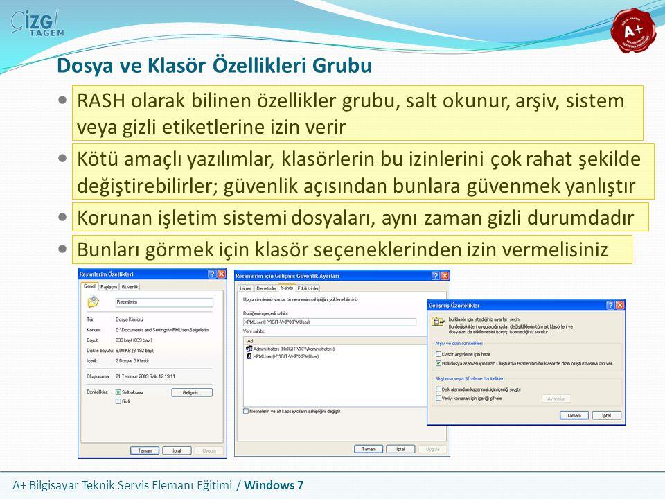 A+ Bilgisayar Teknik Servis Elemanı Eğitimi / Windows 7 Dosya ve Klasör Özellikleri Grubu RASH olarak bilinen özellikler grubu, salt okunur, arşiv, si