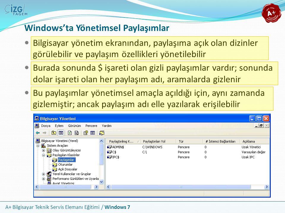 A+ Bilgisayar Teknik Servis Elemanı Eğitimi / Windows 7 Windows'ta Yönetimsel Paylaşımlar Bilgisayar yönetim ekranından, paylaşıma açık olan dizinler