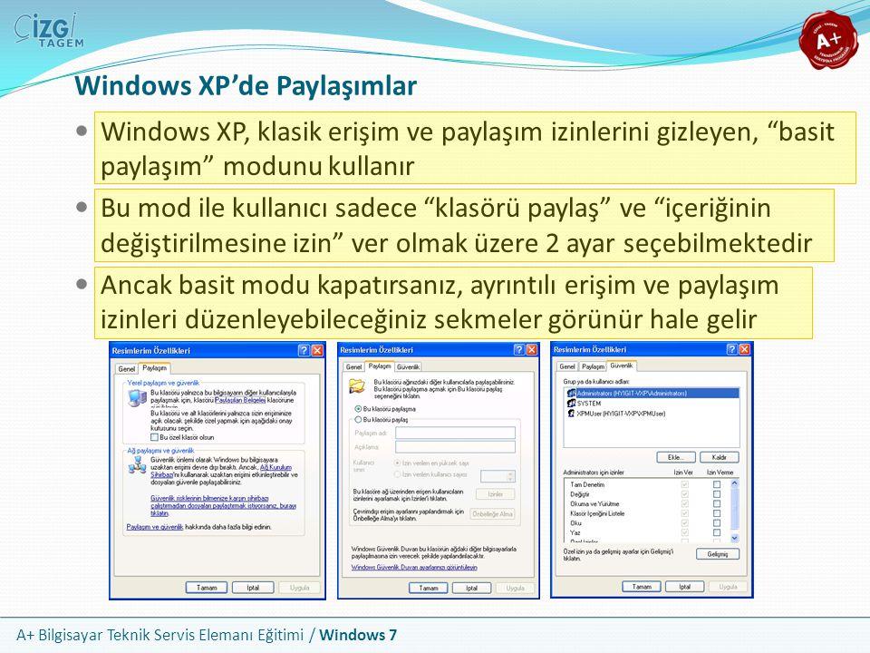 """A+ Bilgisayar Teknik Servis Elemanı Eğitimi / Windows 7 Windows XP'de Paylaşımlar Windows XP, klasik erişim ve paylaşım izinlerini gizleyen, """"basit pa"""