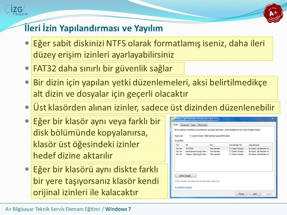 A+ Bilgisayar Teknik Servis Elemanı Eğitimi / Windows 7 İleri İzin Yapılandırması ve Yayılım Eğer sabit diskinizi NTFS olarak formatlamış iseniz, daha