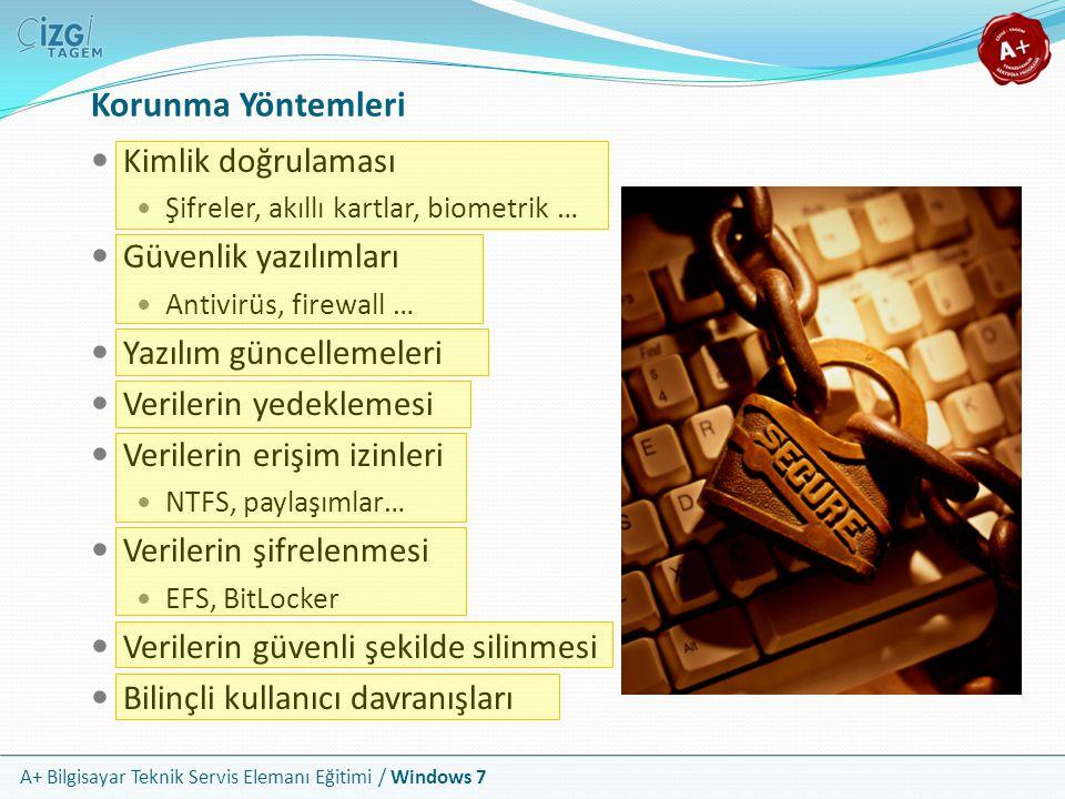 A+ Bilgisayar Teknik Servis Elemanı Eğitimi / Windows 7 UAC: Kullanıcı Hesabı Denetimi Sadece Windows Vista ve Windows 7'de bulunan bir özelliktir Yönetimsel yetki gerektiren bir işlem söz konusu olduğunda, bu işlem güvenli bir masaüstü ile kullanıcıya iletilir ve onay istenir Windows Vista'da kullanıcıyı bunaltacak düzeyde uyarılar veren bu denetim, Windows 7'de bir çok açıdan düzenlenmiştir Artık sadece gerçekten önemli işlemlerde uyarı vermektedir Kullanıcı hesapları kısmından uyarı düzeyleri yönetilebilir
