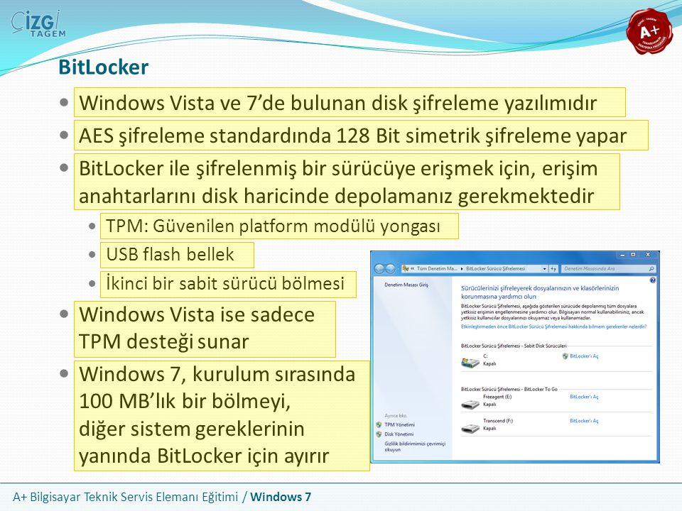 A+ Bilgisayar Teknik Servis Elemanı Eğitimi / Windows 7 BitLocker Windows Vista ve 7'de bulunan disk şifreleme yazılımıdır AES şifreleme standardında