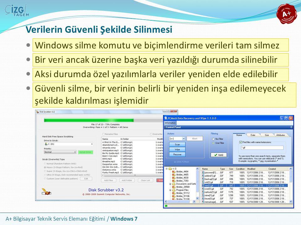 A+ Bilgisayar Teknik Servis Elemanı Eğitimi / Windows 7 Verilerin Güvenli Şekilde Silinmesi Windows silme komutu ve biçimlendirme verileri tam silmez