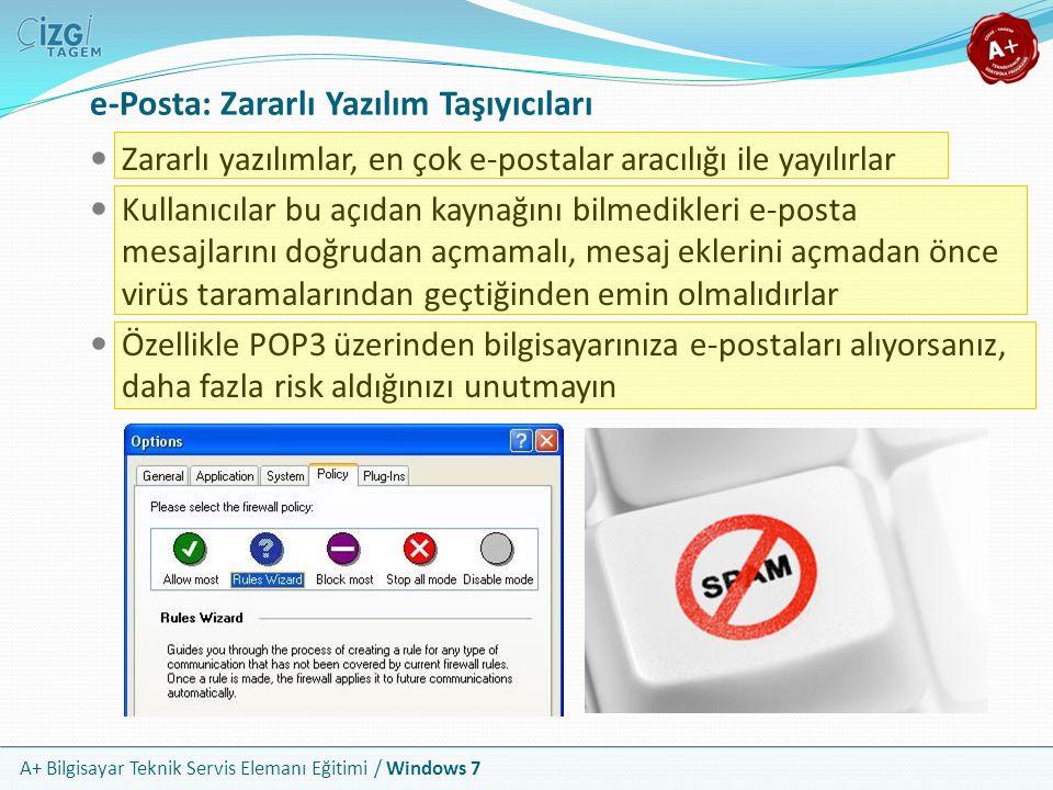 A+ Bilgisayar Teknik Servis Elemanı Eğitimi / Windows 7 e-Posta: Zararlı Yazılım Taşıyıcıları Zararlı yazılımlar, en çok e-postalar aracılığı ile yayı