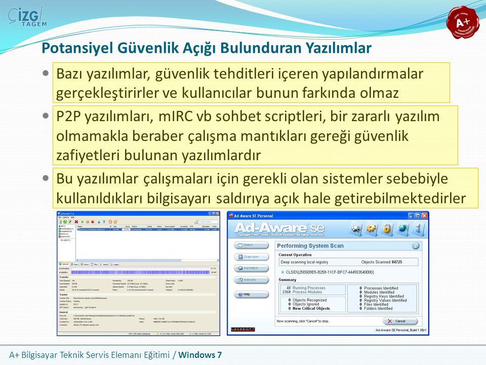 A+ Bilgisayar Teknik Servis Elemanı Eğitimi / Windows 7 Potansiyel Güvenlik Açığı Bulunduran Yazılımlar Bazı yazılımlar, güvenlik tehditleri içeren ya