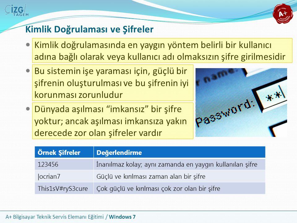 A+ Bilgisayar Teknik Servis Elemanı Eğitimi / Windows 7 Şifre Oluştururken Dikkat Edilecekler Şifrelerinizde kesinlikle kişisel bilgilerinizi kullanmayın Sizi az da olsa tanıyan bir kişinin bile tahmin edemeyeceği şifrelerler üretin; hatta mümkünse anlamlı bir dizilimi olmasın Mümkün olduğu kadar harf, rakam ve diğer sembolleri bir arada kullanın; klavyedeki #$½ <} gibi karakterleri araya alın Ardışık veya klavye dizlimi kolay şifreleri asla kullanmayın; şifresi 123456 ve qwerty olan binlerce kullanıcı bulabilirsiniz Şifreleriniz i çok kısa tutmayın; en az 6 veya 8 basamaklı şifreler kullanın
