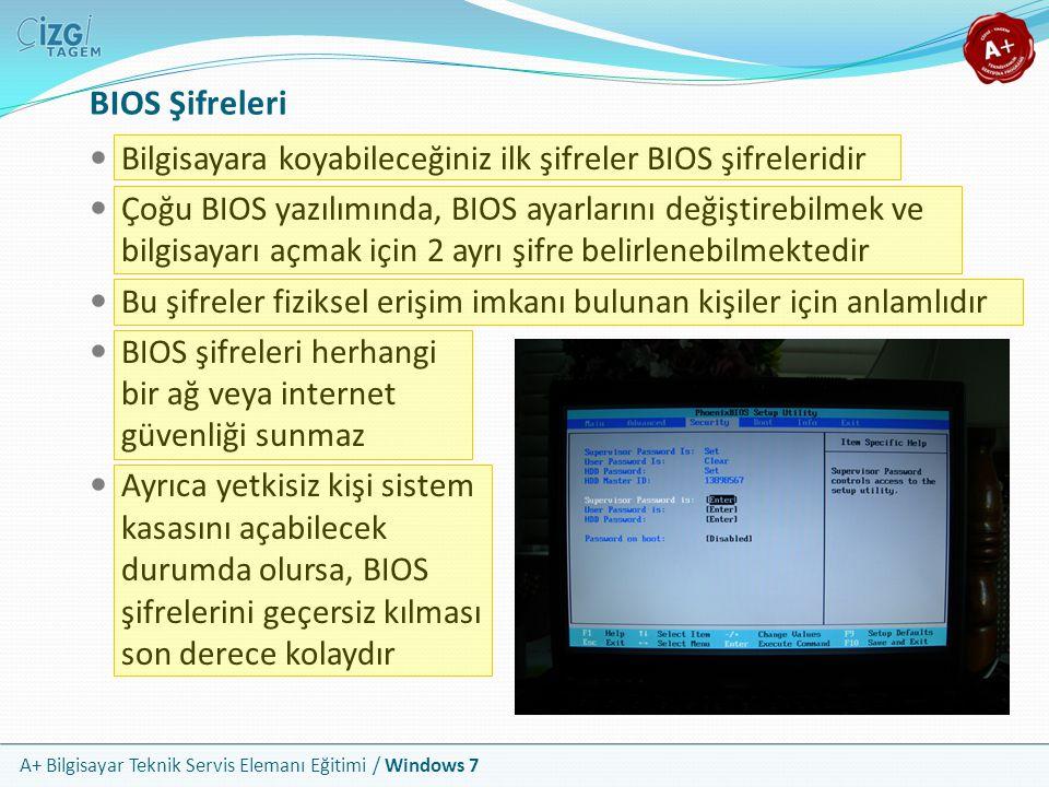 A+ Bilgisayar Teknik Servis Elemanı Eğitimi / Windows 7 Verilerin Erişim İzinlerinin Ayarlanması Erişim güvenliği, işletim sisteminin, hangi verilerin, hangi kullanıcı erişimine açık olduğunu kontrol etmesine dayanır Kullanıcı kimliğinin başarılı şekilde doğrulanmasına bağlıdır Dosya ve klasör erişim izinleri, fiilen bilgisayarı kullanan veya ağdan sisteminize bağlanan kullanıcılar için aynı mantıkla düzenlenir ve işler Sadece ağ üzerinden erişim için, normal erişim izinlerinin yanında, paylaşım izinleri de verilmiş olması gerekir