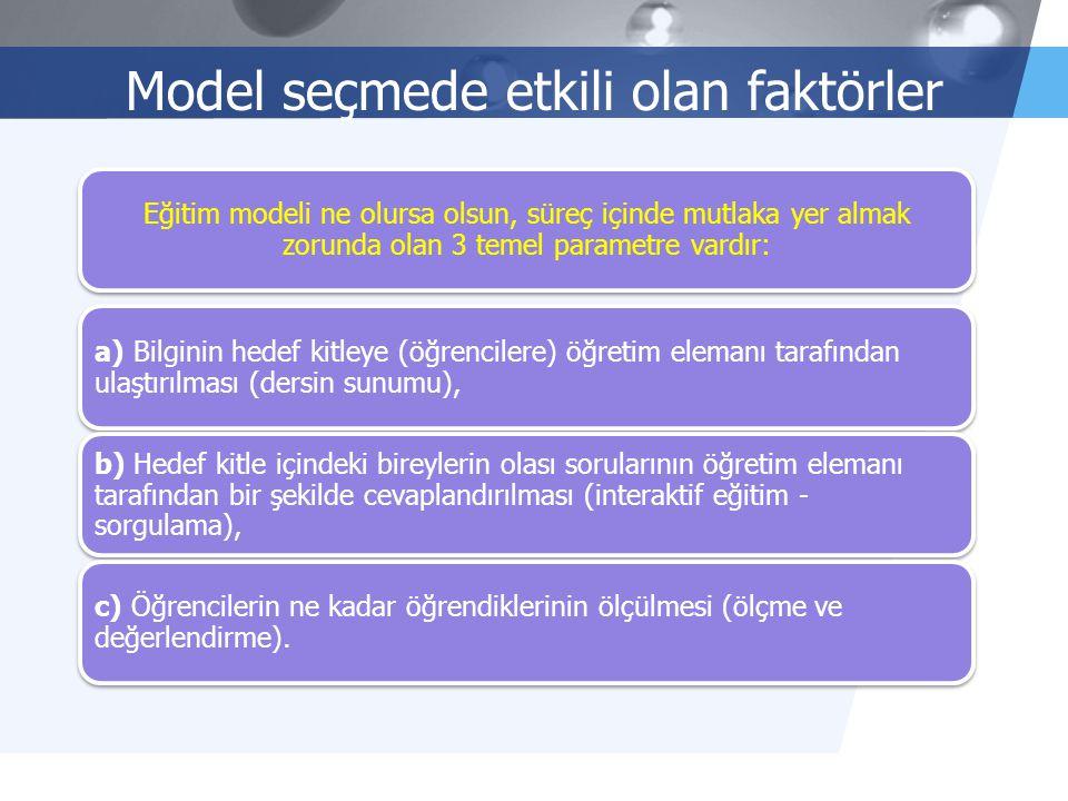 LOGO 2/10 Model seçmede etkili olan faktörler Eğitim modeli ne olursa olsun, süreç içinde mutlaka yer almak zorunda olan 3 temel parametre vardır: a)