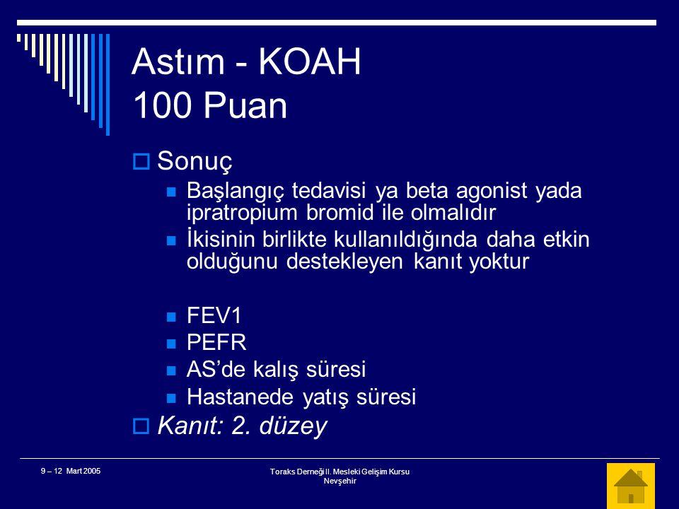 Toraks Derneği II. Mesleki Gelişim Kursu Nevşehir 9 – 12 Mart 2005 Astım - KOAH 100 Puan  Akut KOAH alevlenmesinde semptomların kontrol edilmesinde b