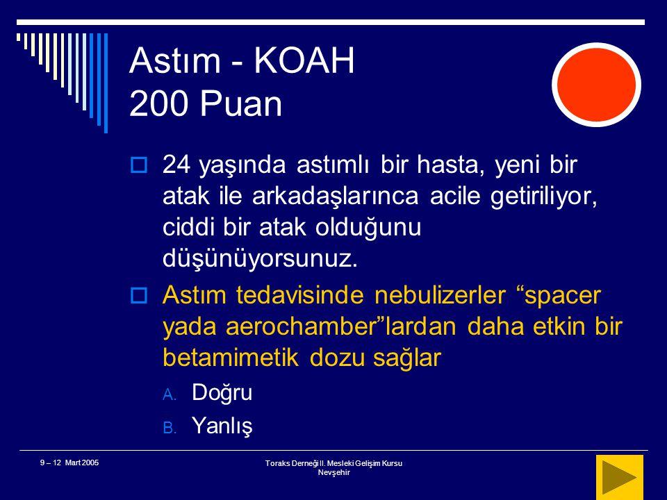 Toraks Derneği II. Mesleki Gelişim Kursu Nevşehir 9 – 12 Mart 2005 Astım - KOAH 100 Puan  Sonuç Başlangıç tedavisi ya beta agonist yada ipratropium b