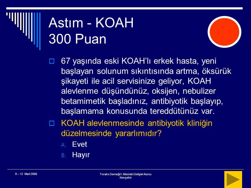 Toraks Derneği II. Mesleki Gelişim Kursu Nevşehir 9 – 12 Mart 2005 Astım - KOAH 200 Puan  Sonuç Spacer yada aerochamber'lar ciddi astım atağıyla gele