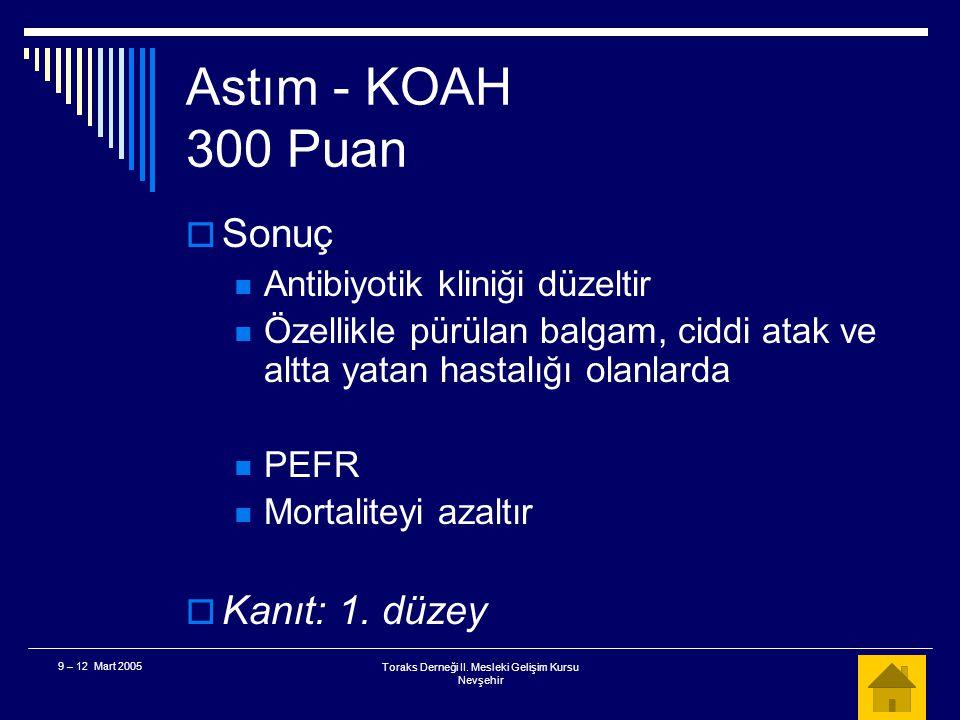 Toraks Derneği II. Mesleki Gelişim Kursu Nevşehir 9 – 12 Mart 2005 Astım - KOAH 300 Puan  KOAH alevlenmesinde antibiyotik kliniğin düzelmesinde yarar