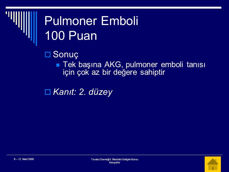 Toraks Derneği II. Mesleki Gelişim Kursu Nevşehir 9 – 12 Mart 2005 Pulmoner Emboli 100 Puan  AKG, bu hastada pulmoner emboliyi ekarte etmede tek başı