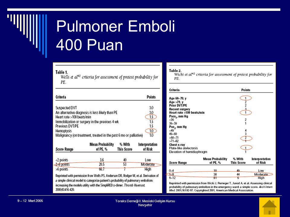 Toraks Derneği II. Mesleki Gelişim Kursu Nevşehir 9 – 12 Mart 2005 Pulmoner Emboli 400 Puan  Bu hastanın klinik olarak pulmoner emboli olasılığı nedi