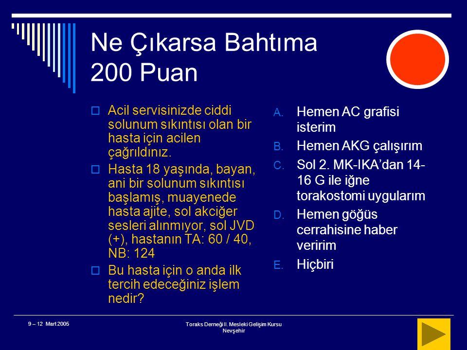 Toraks Derneği II. Mesleki Gelişim Kursu Nevşehir 9 – 12 Mart 2005 Ne Çıkarsa Bahtıma 100 Puan www.toraks.org.tr
