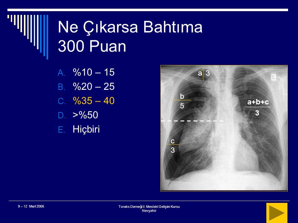 Toraks Derneği II. Mesleki Gelişim Kursu Nevşehir 9 – 12 Mart 2005 Ne Çıkarsa Bahtıma 300 Puan  Şekilde yer alan hastada pnömotoraks yüzdesi nedir? A