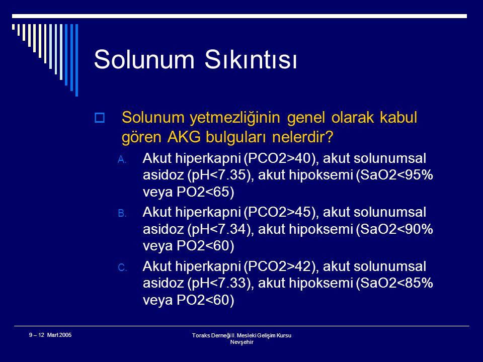 Toraks Derneği II. Mesleki Gelişim Kursu Nevşehir 9 – 12 Mart 2005 Solunum Sıkıntısı  Literatürde anlaşmaya varılmış kanıt düzeyi yüksek solunum sıkı