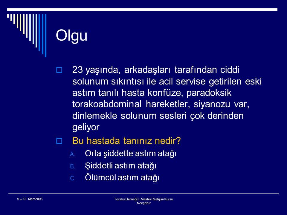 9 – 12 Mart 2005Toraks Derneği II. Mesleki Gelişim Kursu Nevşehir 3. Bölüm Olgu