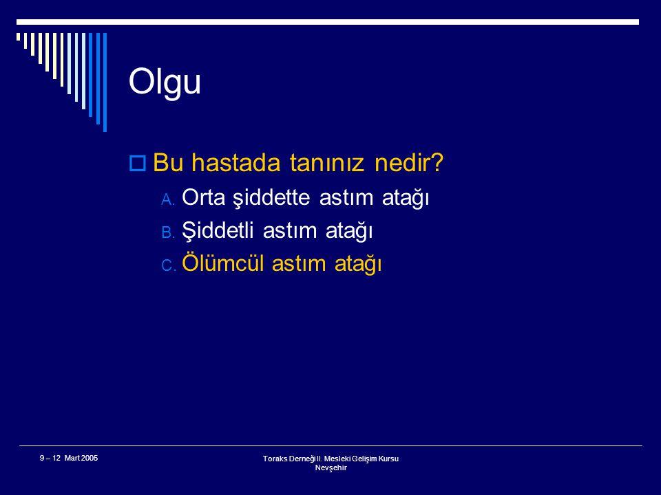 Toraks Derneği II. Mesleki Gelişim Kursu Nevşehir 9 – 12 Mart 2005 Olgu  23 yaşında, arkadaşları tarafından ciddi solunum sıkıntısı ile acil servise