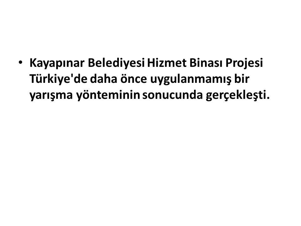 Kayapınar Belediyesi Hizmet Binası Projesi Türkiye de daha önce uygulanmamış bir yarışma yönteminin sonucunda gerçekleşti.