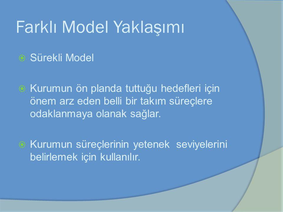 Farklı Model Yaklaşımı  Sürekli Model  Kurumun ön planda tuttuğu hedefleri için önem arz eden belli bir takım süreçlere odaklanmaya olanak sağlar. 