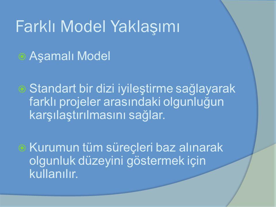 Farklı Model Yaklaşımı  Aşamalı Model  Standart bir dizi iyileştirme sağlayarak farklı projeler arasındaki olgunluğun karşılaştırılmasını sağlar. 