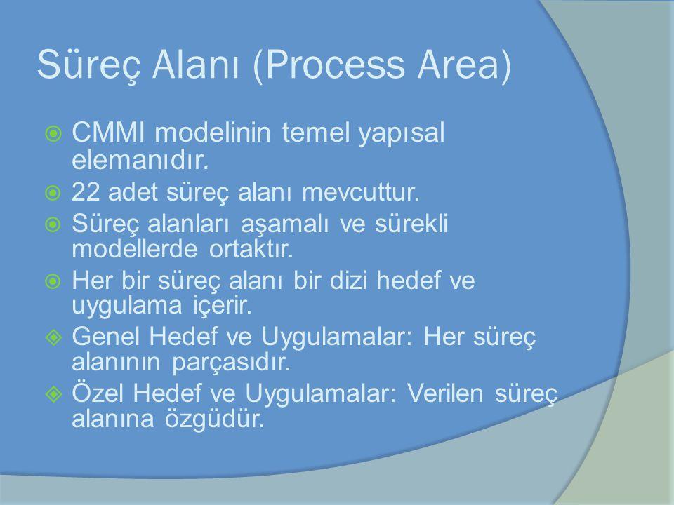 Süreç Alanı (Process Area)  CMMI modelinin temel yapısal elemanıdır.  22 adet süreç alanı mevcuttur.  Süreç alanları aşamalı ve sürekli modellerde