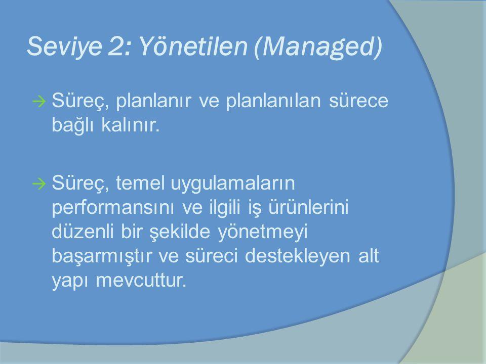 Seviye 2: Yönetilen (Managed)  Süreç, planlanır ve planlanılan sürece bağlı kalınır.  Süreç, temel uygulamaların performansını ve ilgili iş ürünleri
