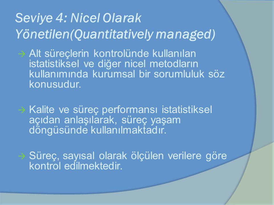 Seviye 4: Nicel Olarak Yönetilen(Quantitatively managed)  Alt süreçlerin kontrolünde kullanılan istatistiksel ve diğer nicel metodların kullanımında