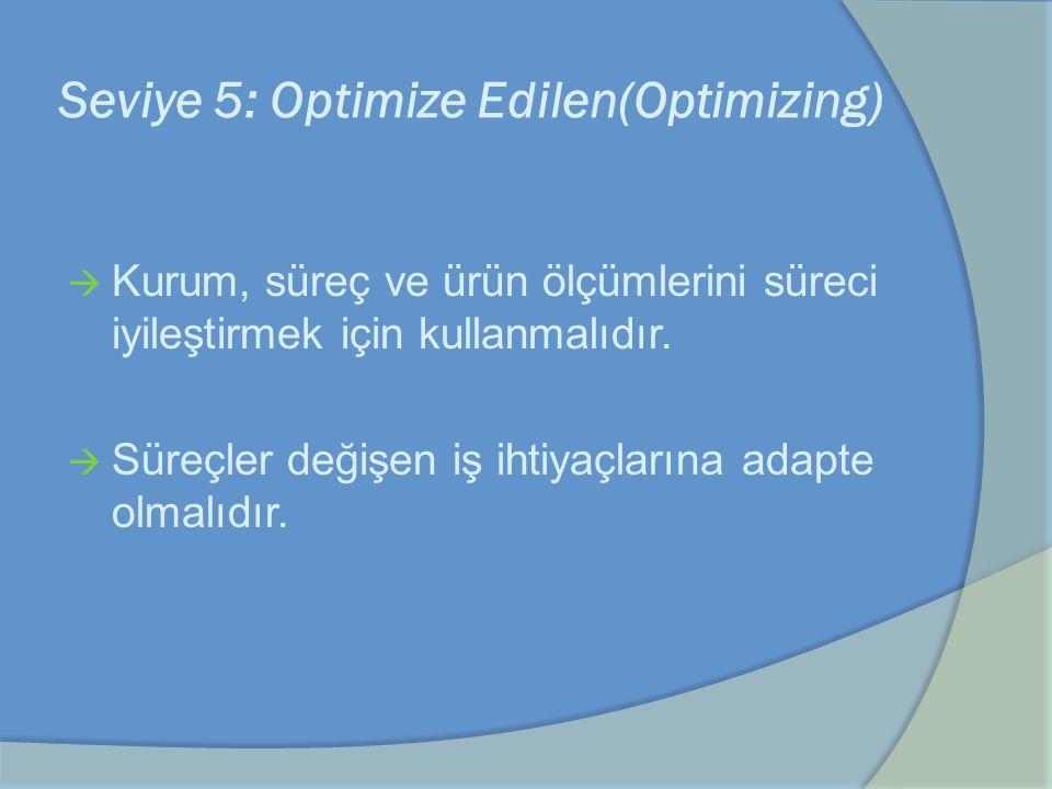Seviye 5: Optimize Edilen(Optimizing)  Kurum, süreç ve ürün ölçümlerini süreci iyileştirmek için kullanmalıdır.  Süreçler değişen iş ihtiyaçlarına a