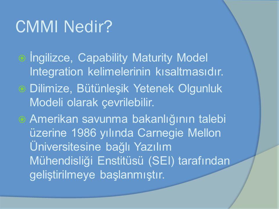 CMMI Nedir?  İngilizce, Capability Maturity Model Integration kelimelerinin kısaltmasıdır.  Dilimize, Bütünleşik Yetenek Olgunluk Modeli olarak çevr