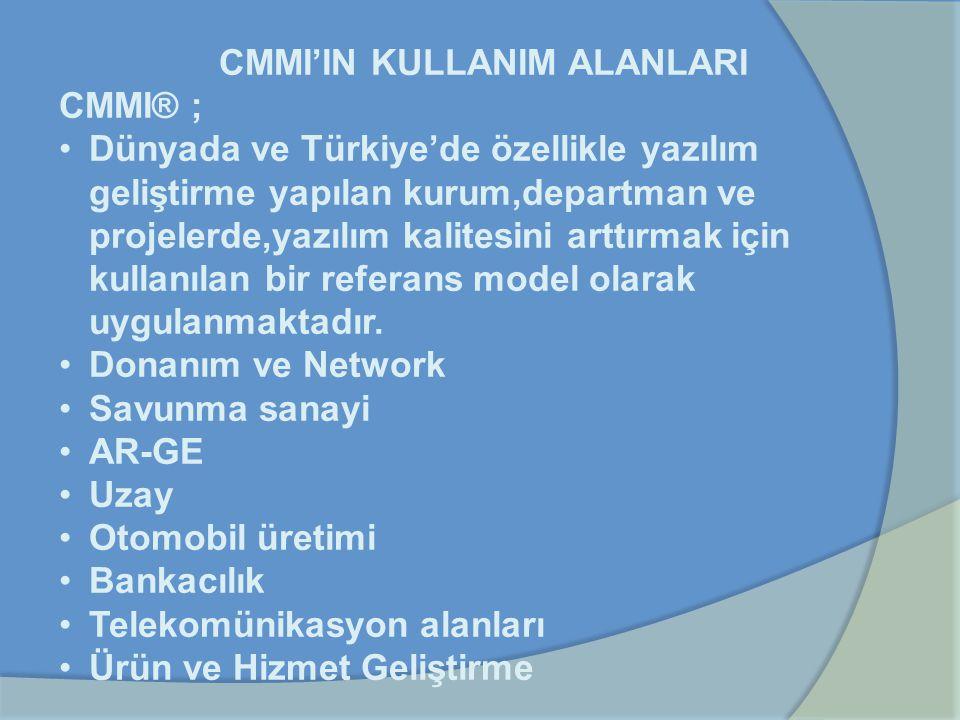 CMMI'IN KULLANIM ALANLARI CMMI® ; Dünyada ve Türkiye'de özellikle yazılım geliştirme yapılan kurum,departman ve projelerde,yazılım kalitesini arttırma
