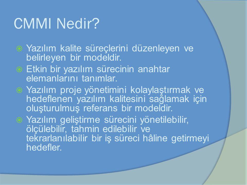 CMMI Nedir?  Yazılım kalite süreçlerini düzenleyen ve belirleyen bir modeldir.  Etkin bir yazılım sürecinin anahtar elemanlarını tanımlar.  Yazılım