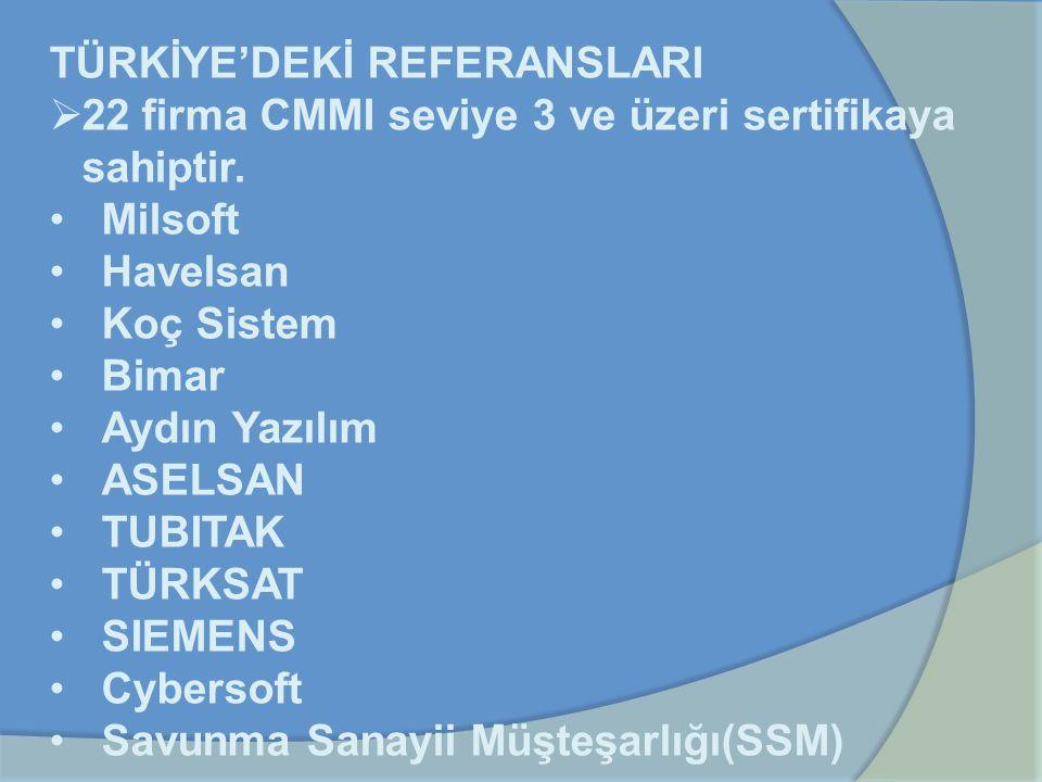 TÜRKİYE'DEKİ REFERANSLARI  22 firma CMMI seviye 3 ve üzeri sertifikaya sahiptir. Milsoft Havelsan Koç Sistem Bimar Aydın Yazılım ASELSAN TUBITAK TÜRK