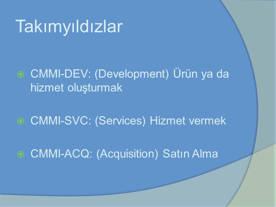 Takımyıldızlar  CMMI-DEV: (Development) Ürün ya da hizmet oluşturmak  CMMI-SVC: (Services) Hizmet vermek  CMMI-ACQ: (Acquisition) Satın Alma