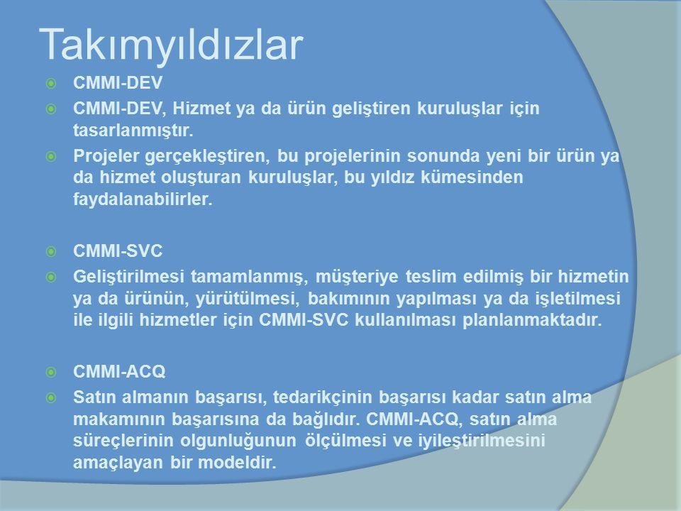 Takımyıldızlar  CMMI-DEV  CMMI-DEV, Hizmet ya da ürün geliştiren kuruluşlar için tasarlanmıştır.  Projeler gerçekleştiren, bu projelerinin sonunda