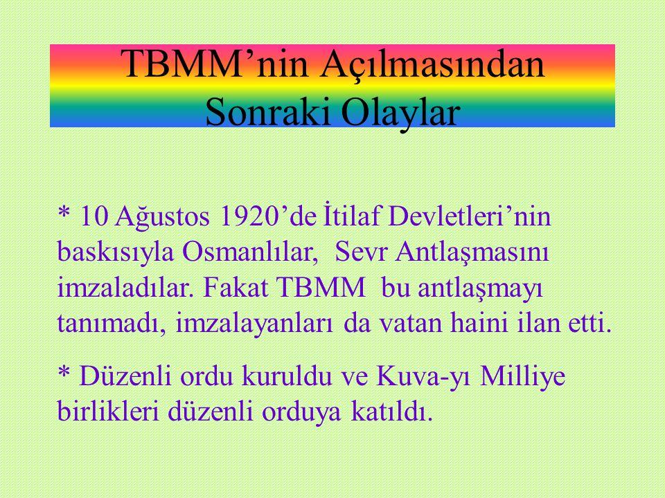 TBMM'nin Açılmasından Sonraki Olaylar * 10 Ağustos 1920'de İtilaf Devletleri'nin baskısıyla Osmanlılar, Sevr Antlaşmasını imzaladılar.