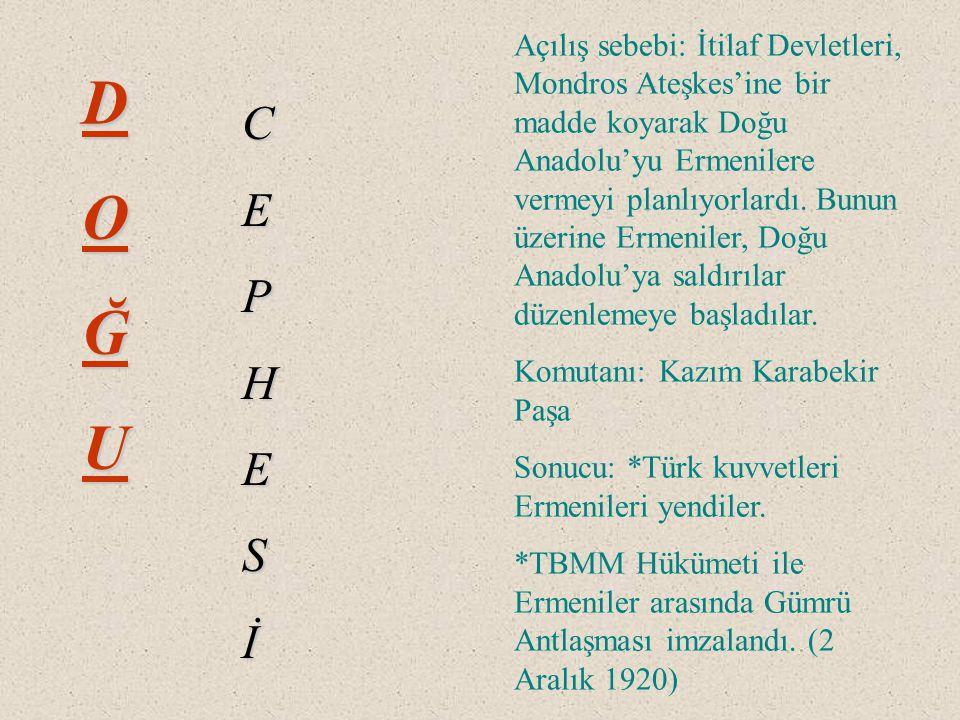 DOĞU CEPHESİ Açılış sebebi: İtilaf Devletleri, Mondros Ateşkes'ine bir madde koyarak Doğu Anadolu'yu Ermenilere vermeyi planlıyorlardı.