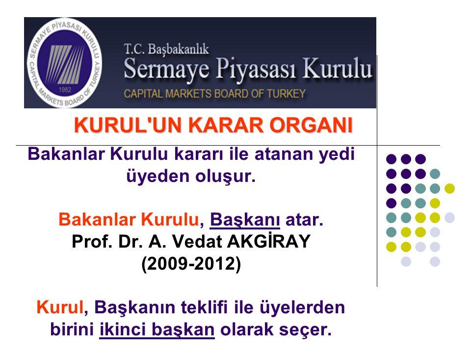 Bakanlar Kurulu kararı ile atanan yedi üyeden oluşur. Bakanlar Kurulu, Başkanı atar. Prof. Dr. A. Vedat AKGİRAY (2009-2012) Kurul, Başkanın teklifi il