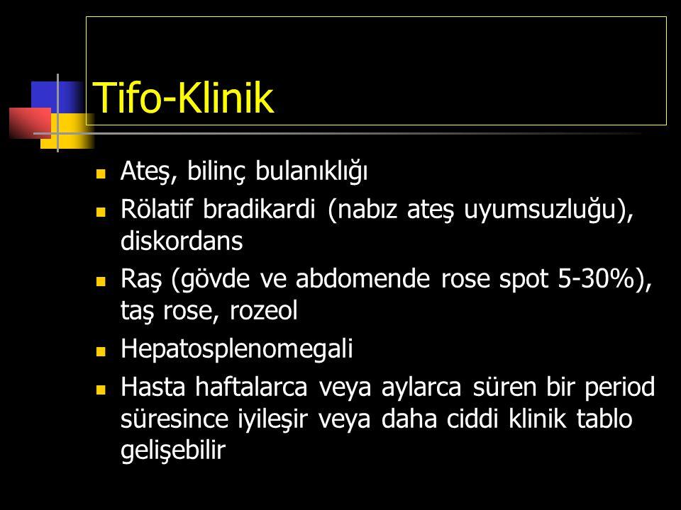 Tifo-Klinik Ateş, bilinç bulanıklığı Rölatif bradikardi (nabız ateş uyumsuzluğu), diskordans Raş (gövde ve abdomende rose spot 5-30%), taş rose, rozeo