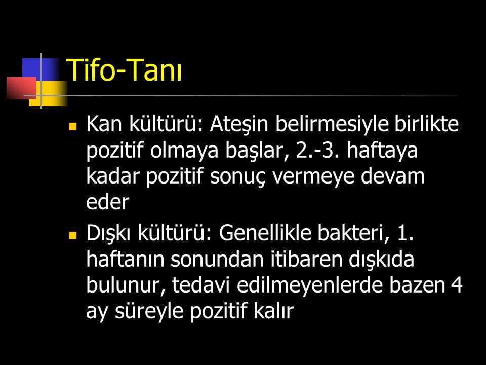 Tifo-Tanı Kan kültürü: Ateşin belirmesiyle birlikte pozitif olmaya başlar, 2.-3. haftaya kadar pozitif sonuç vermeye devam eder Dışkı kültürü: Genelli