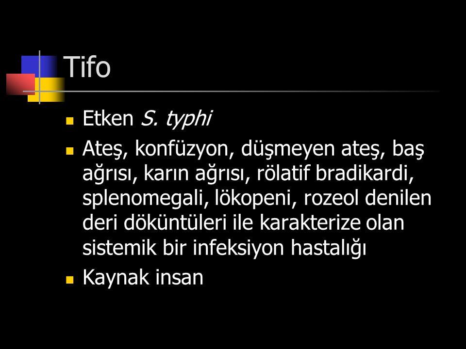 Tifo Etken S. typhi Ateş, konfüzyon, düşmeyen ateş, baş ağrısı, karın ağrısı, rölatif bradikardi, splenomegali, lökopeni, rozeol denilen deri döküntül