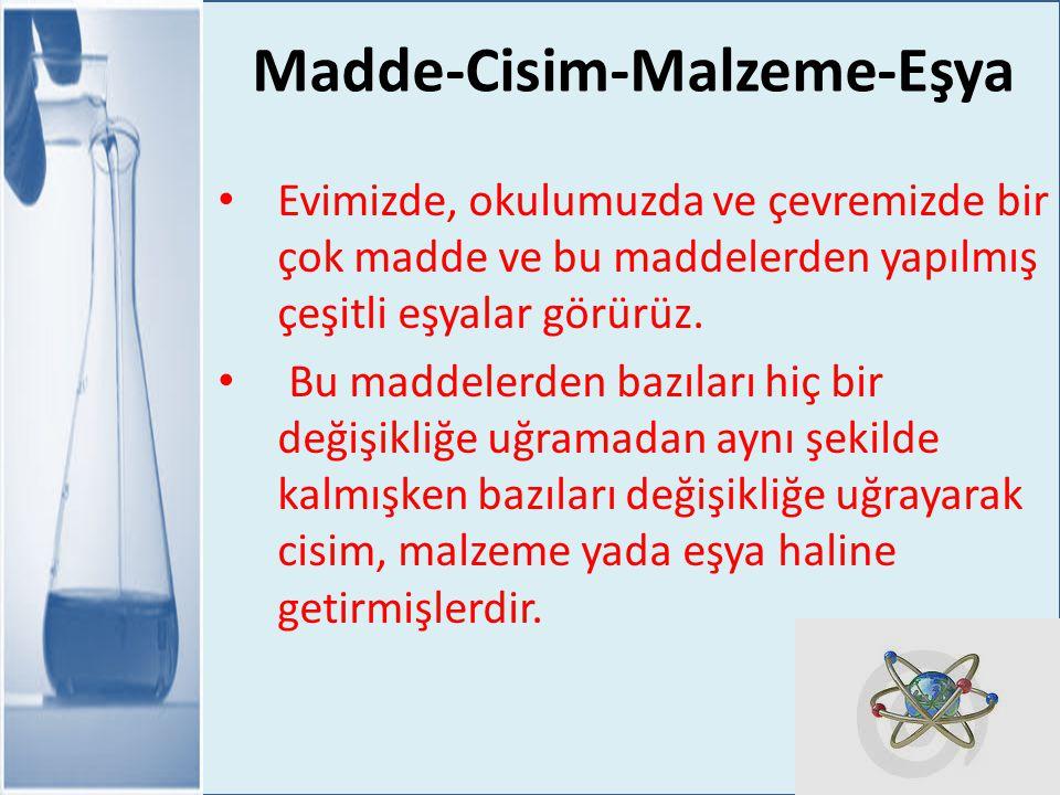 Madde-Cisim-Malzeme-Eşya MADDE Belli bir hacmi ve kütlesi olan her varlık bir maddedir.